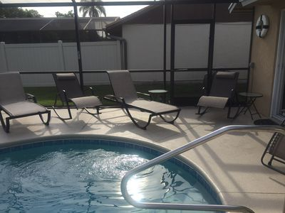 New pool chairs. 2 lounge chairs and 2 rocker lounge chairs.
