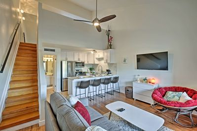 Modern decor meets quintessential desert style in this vacation rental loft.