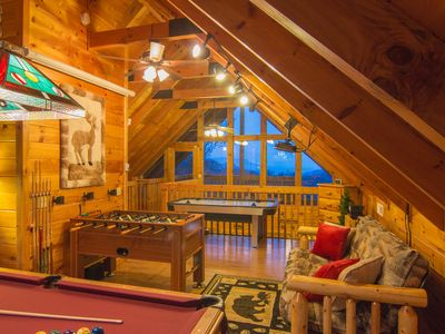 Photo for VIEWS FOR MILES! VERY PRIVATE! LOFT GAMEROOM W/THEATER! NETFLIX! FIRE PIT!
