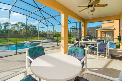 South Facing Pool and Spa overlooks Conservation and lake