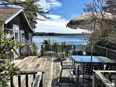 Outdoor Porch with view of Waterfront due East