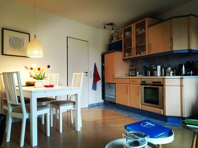 Photo for 30 m to the beach, bright apartment with south-facing balcony, beach chair, indoor pool and sauna