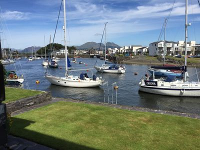 View of Porthmadog harbour through the patio window