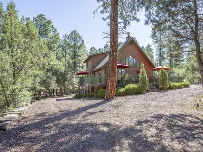 Want to cool off?  Come enjoy this 3 bedroom, 2 bath nestled in the forest.