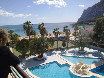 Photo for Calpe: apt paraiso renovated March 2014 March conditioning, swimming pool, 1st line, sea view, ideal family location