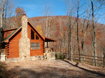 Photo for Cozy 2 Bedroom  2 Bath Log Cabin-Pet Friendly, Fenced Yard, Views & Firepit
