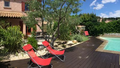 Photo for Nearby Uzes, villa with garden and private pool for 8 to 9 people