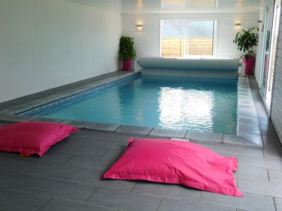 Photo for Wonderful house with sea view and heated inside pool.
