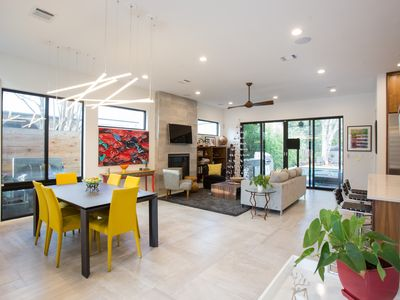 Photo for Modern Zilker comfort, high-end kitchen, striking decor, heated pool, much more