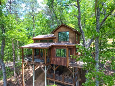 Photo for Canopy Blue Luxury Treehouse *hot tub, fire pit, swing bed, amazing views*
