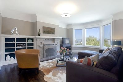 Living room with peek-a-boo views of the City and Dolores Park
