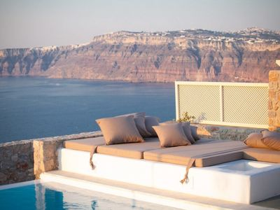 Photo for EXPERIENCE THE HOSPITALITY. PRIVATE POOL AMAZING VIEWS3 BEDROOMS VILLA SANTORINI
