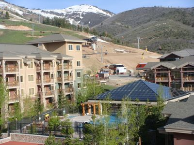 View from 3800; Westgate pool and Canyons Ski Area Gondola and heated chair lift