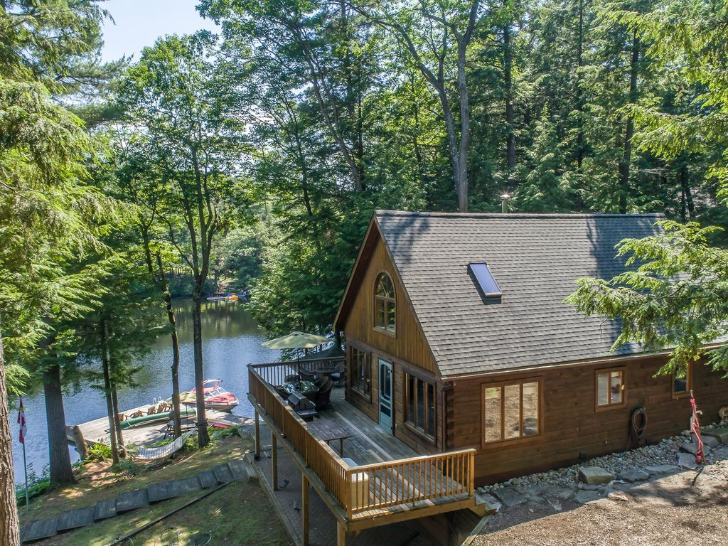 rentals cottage sunny southern canoe muskoka beach exposure private rental decks sandy from ontario dock bala lake br
