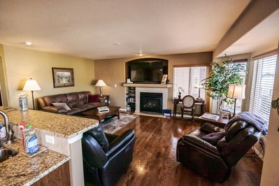 "Family Room has a 65"" TV & a flip the switch Fireplace!"