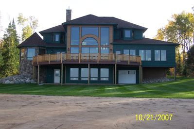 Back of the cottage, facing north.  Man-made beach.