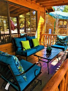 Comfy covered patio for  relaxing with a bottle of wine