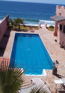 Gorgeous 45' Lap Pool With Beach Access - View from Guesthouse Terrace