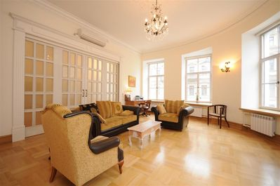 Sitting room with sliding door closed & air conditioner