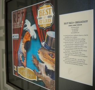 Best B&B STL Awards adorn the colorful art drenched walls