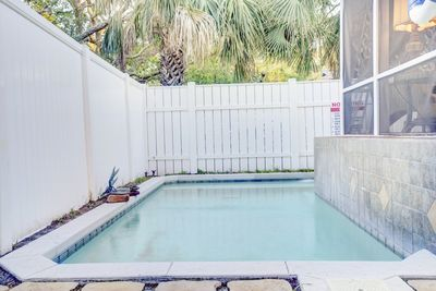 Private swimming pool in the backyard