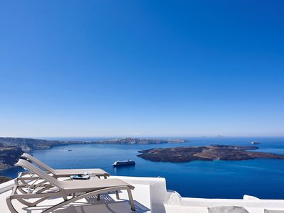 Photo for VILLA EARTH CALDERA SANTORINI ISLAND, 3 Bedrooms, 3 Bathrooms, Up to 7 Guests, Phenomenal volcanic views, cavernous interiors !!