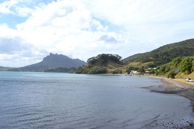 View of Mt Manaia and Urquharts Bay beach