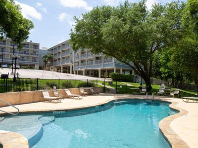 Located right on the Comal River! Pool, hot tub and direct river access!!