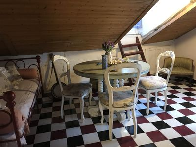 The dining room in the attic is an unique space with a 360 degree view