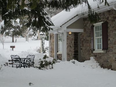 Peaceful to watch it snow outside while guests stay warm inside.
