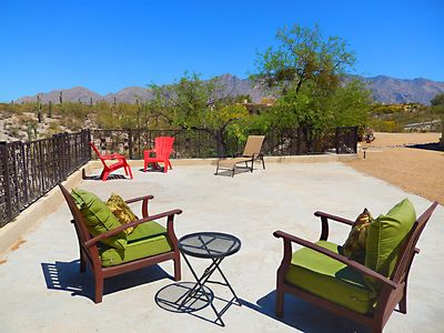 deck overlooking desert and Catalina Mountains