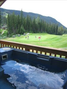 View of the 6th hole from the hot tub and balcony