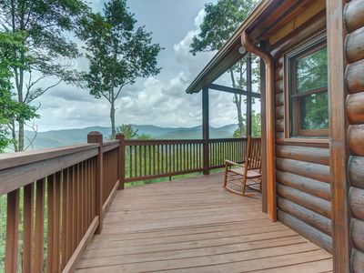 Photo for Luxury cabin w/ private hot tub, amazing views, & outdoor fireplace