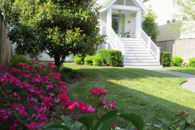 Private garden and front entry
