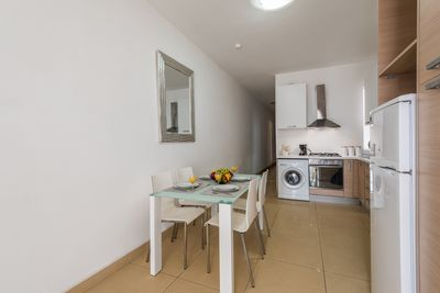The open-plan living, kitchen and dining area