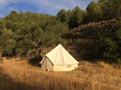 Photo for Canvas Bell Tent among olive groves and ancient terraces