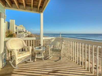 Photo for Oceanfront end unit, 2 large decks, 1 covered! Indoor and Outdoor Pools!