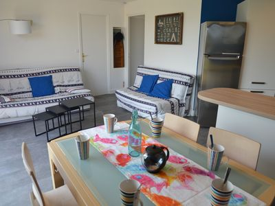 Photo for House 3 ***, 1-7 pers, 3 bedrooms, sea view, 100 m beach, indoor pool, Wifi