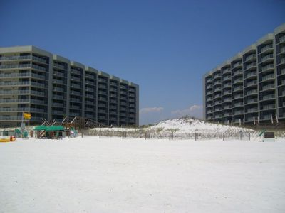 Condo building taken from the beach.   #254 is located on left in the middle.
