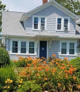 You will be met with blooming flowers and a view of the Long Island Sound.