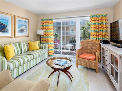 Photo for Beachfront Condominium Perfect for Small Families! Pool,  Fitness Center, Tennis!
