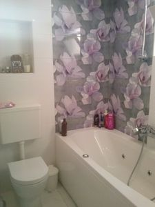 Large bathroom with sink for two