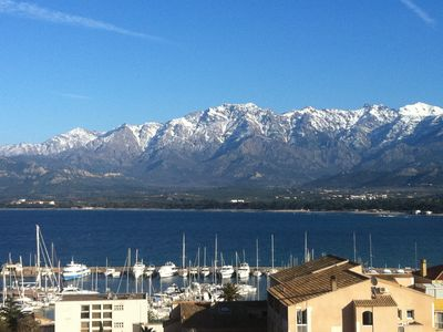 Photo for Air-conditioned 93m² apartment sleeps 6, Calvi bay view, citadel and mountain.