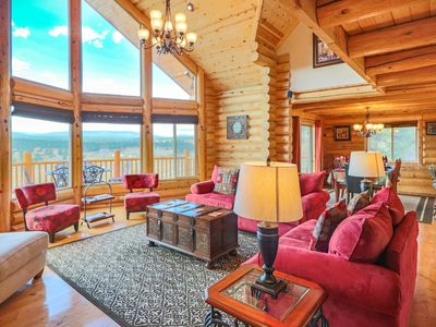 Photo for Luxury Custom Lodge Cabin, 3 Bdrm Suites, Panoramic Views! - SPECIALS 'til OCT15
