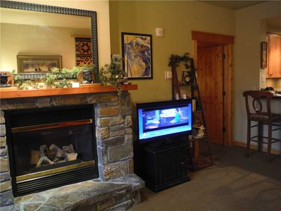 Livng Room Fireplace and TV