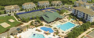 Overhead View of Bayside Resort Outdoor Pools, Tennis and so much more!
