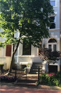 Quiet tree-lined street with 19th century brownstone façade.