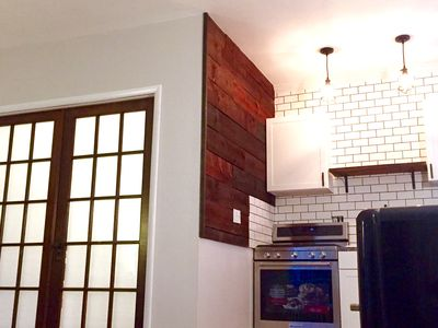 French doors and newly renovated kitchen