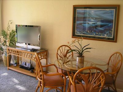 After a hard day at the beach, relax with a movie on our flat screen HDTV.