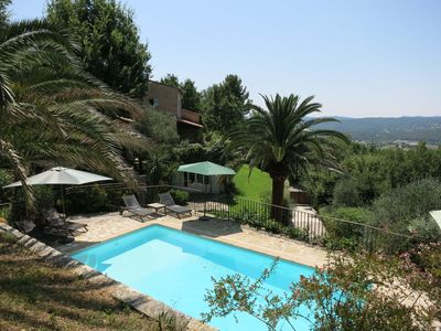 View of the house and pool towards the Mediterranean
